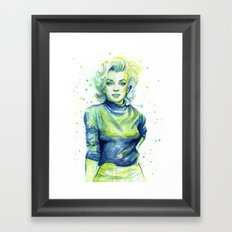 Marilyn Portrait Watercolor Painting Actress Old Hollywood Framed Art Print