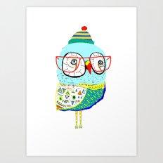 Bobble Hat Owl. Art Print
