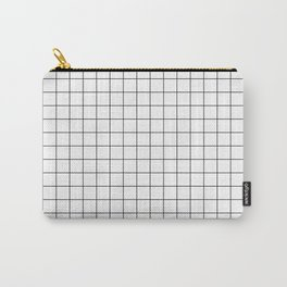 Large Black Grid on White Carry-All Pouch