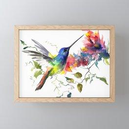 Hummingbird, tropical Foliage, Hawaiian design, tropical, colors Framed Mini Art Print