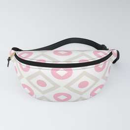 Pink pastel pattern of rhombuses and circles Fanny Pack