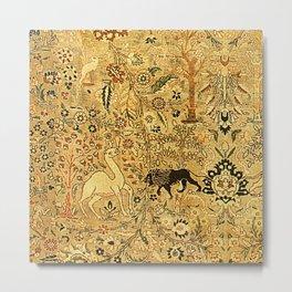 Antique Persian Tabriz Animal Rug Print Metal Print