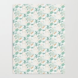 Mint Green And Tan Teapots and Mugs Poster