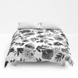 Floret Black and White Comforters