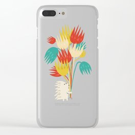 Hedgehog with flowers Clear iPhone Case