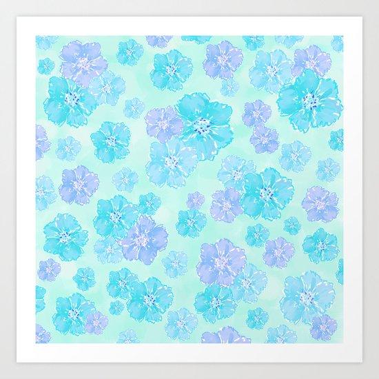 Blossoms Aqua Blue Mint Art Print