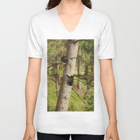 climbing V-neck T-shirts featuring Climbing Cubs by Kevin Russ