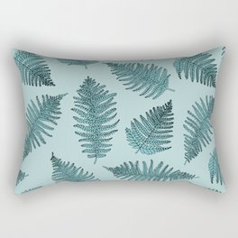 Blue fern garden botanical leaf illustration pattern Rectangular Pillow