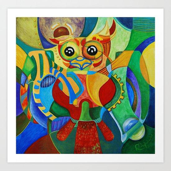 Rainbow Owl Art Print