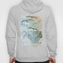 Free Like A Bird Seagull Mixed Media Art Hoody