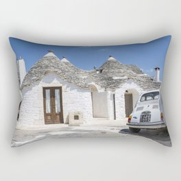 Trulli houses in Italy with vintage car Rectangular Pillow