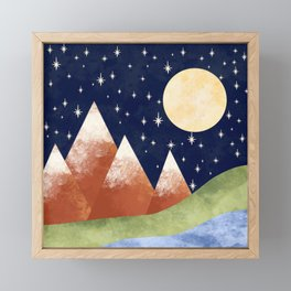 Full Moon In The Mountains Framed Mini Art Print