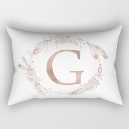 Letter G Rose Gold Pink Initial Monogram Rectangular Pillow