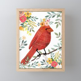 Red Bird with Floral Crown Framed Mini Art Print