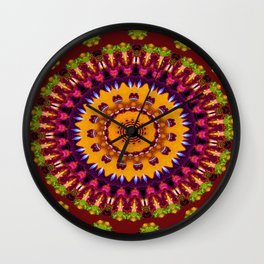 Lovely Healing Mandalas in Brilliant Colors: Brown, Wine, Green, Pink, Mustard, and Burnt Orange Wall Clock