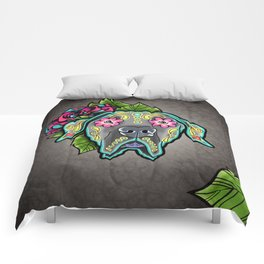 Great Dane with Floppy Ears - Day of the Dead Sugar Skull Dog Comforters