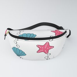 cute summer pattern with starfishes and seashells Fanny Pack