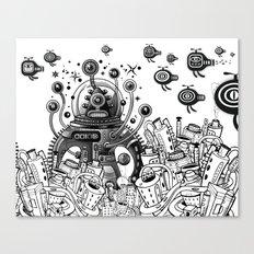 Alien in mecanic jungle Canvas Print