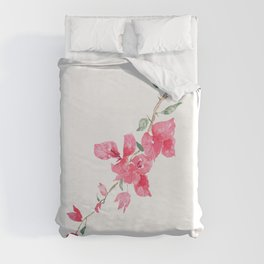 red  pink  bougainvillea watercolor Duvet Cover