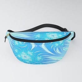 Abstract Christmas aqua blue white pattern. Frozen flowers Fanny Pack
