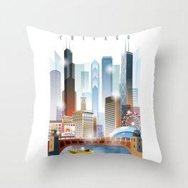 Chicago city skyline painting Throw Pillow