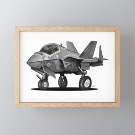 F-35C Lightning II Joint Strike Fighter Cartoon Framed Mini Art Print