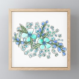 Blue Forget Me Not Floral Watercolor Framed Mini Art Print
