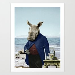 Mr. Rhino's Day at the Beach Art Print