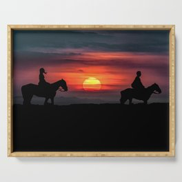 Couple Riding Horses at Nature Serving Tray