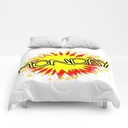 Cartoon Yellow Monday Isolated Splash Comforters
