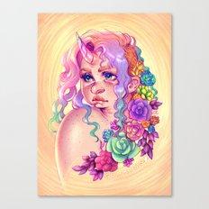 Succulent Unicorn Canvas Print