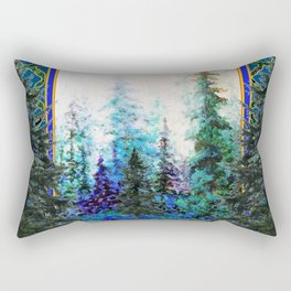 PINE TREES BLUE FOREST  LANDSCAPE TEAL PATTERN Rectangular Pillow