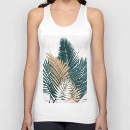 Gold and Green Palm Leaves Unisex Tank Top