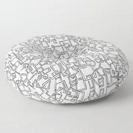 Graphic Geometric Black and White Minimalist Print Floor Pillow