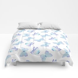 Lilac aqua blue watercolor hand painted butterfly Comforters