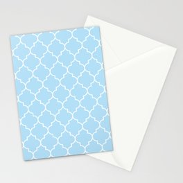 Blue Latticework, Quatrefoil, Moroccan Trellis Stationery Cards