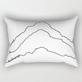 Tallest Mountains in the World B&W / Mt Everest K2 Kanchenjunga / Minimalist Line Drawing Art Print Rectangular Pillow