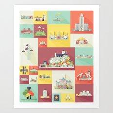 Los Angeles Landmarks Art Print