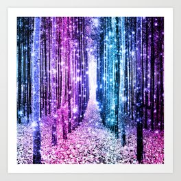 Magical Forest : Aqua Periwinkle Purple Pink Ombre Sparkle Art Print