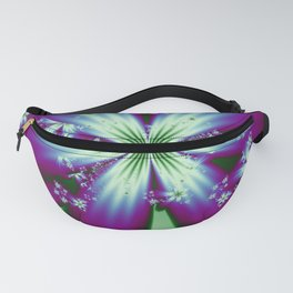 Purple Blue and Green Flowers Fanny Pack