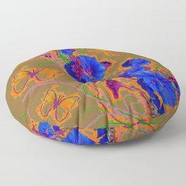 Modern Butterflies  Royal Blue Morning Glory Pattern Art Floor Pillow