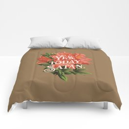 Yes Today Satan - lily flower, blush pink, deep tan colour combo Comforters