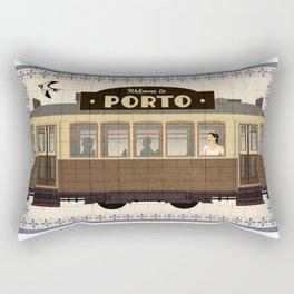 Travel Posters  - Porto Tram Rectangular Pillow