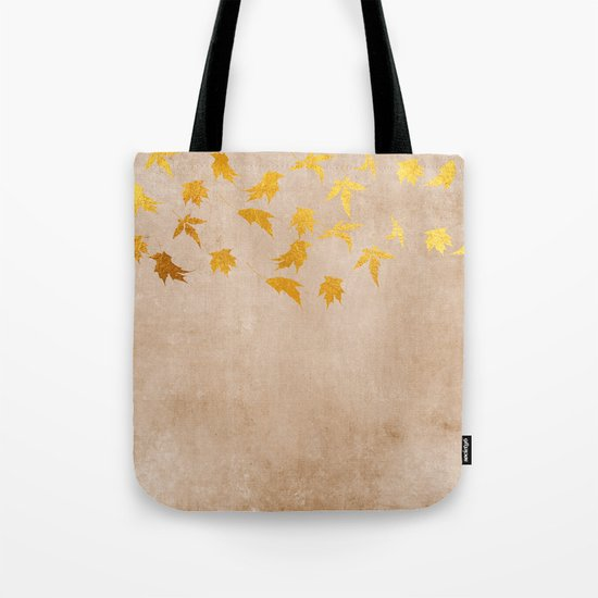 Gold leaves on grunge background - Autumn Sparkle Glitter design #Society6 Tote Bag