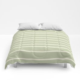 Dover White 33-6 Hand Drawn Horizontal Lines on Melon Green 18-28 Comforters