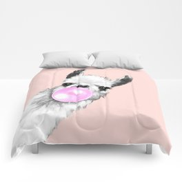 Bubble Gum Black and White Sneaky Llama in Pink Comforters