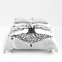 black and white tree of life with moon phases and celtic trinity knot II Comforters