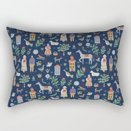 Swedish Folk Art - Blue Rectangular Pillow