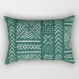 Line Mud Cloth // Brunswick Green Rectangular Pillow