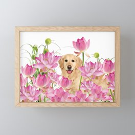 Labrador Retrievers with Lotos Flower Framed Mini Art Print